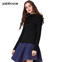 Yalabovso 2017 New Winter Turn Down Collar Black Purple Elegant Slim Sweaters Warm Fashion Bottoming Sweater