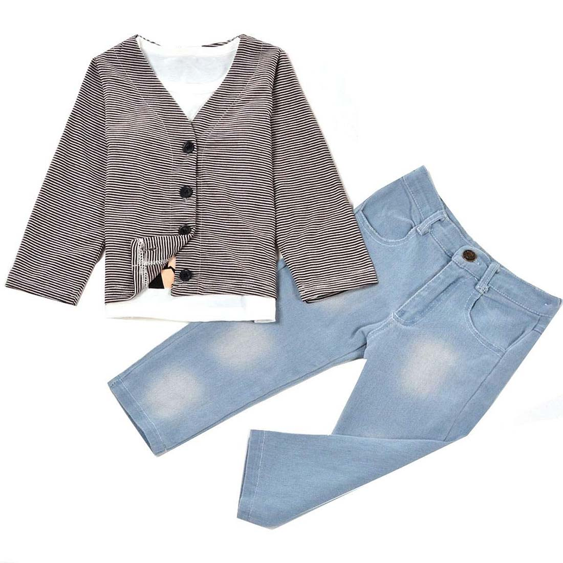 Cute Boys Three Pieces Clothing Set Striped Outwear and Long Sleeve Shirt with Jeans Coffee Age(2-3t)90cm