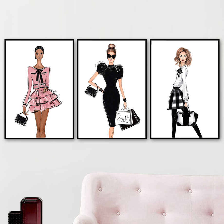Paris Sexy Girl Fashion Dress Wall Art Canvas Painting Nordic Posters And Prints Salon Decoration Wall Pictures For Living Room Leather Bag