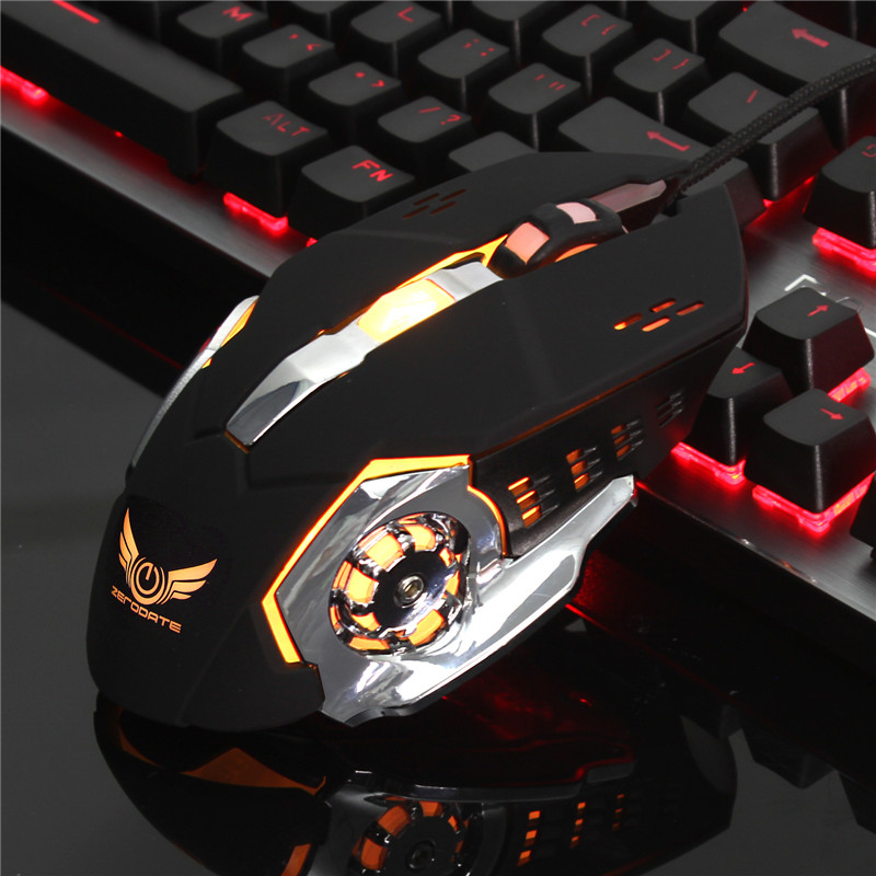USB Wired 6 Buttons LED Backlight Silent Gaming Mouse Gamer 4 Level Adjustable 3200 DPI Slient Computer Game Mice For PC Laptop
