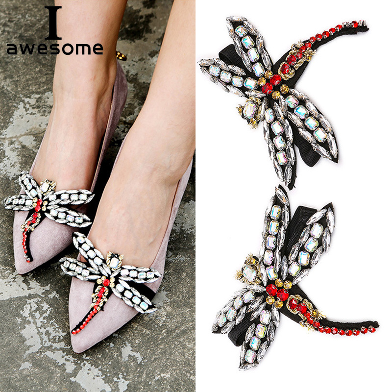 8 Pair dragonfly Rhinestone Crystal for High Heels Shoes Manual DIY Shoe  Decorations Wedding Party Shoes Accessories Shoe buckle
