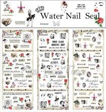 3 Folhas/Lots Prego Adesivos de Transferência de Água Decalques Manicure Watermark Stickers Dicas HOT253-255 Paris Estilo Vintage Chic