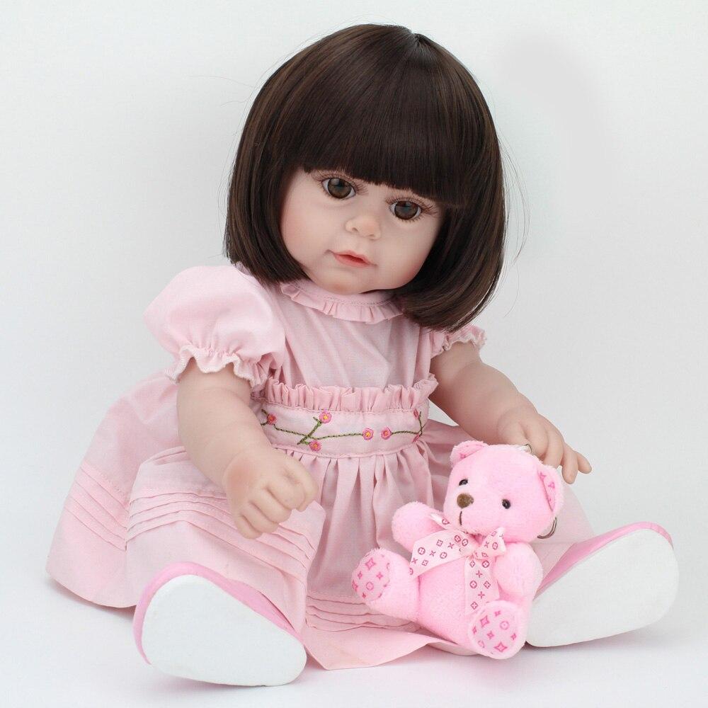 43 cm fille bébé reborn Silicone poupées mignon faux infantile poupée reborn belle longue poupée de cheveux 0-7 ans enfants meilleur cadeau