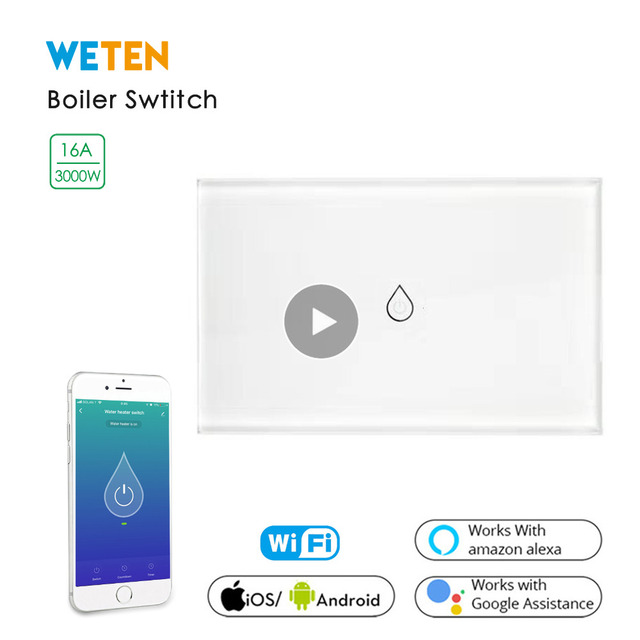 Smart Wifi Boiler Switch, 16A 3000W High Power / APP Remote Control / Work with Alexa Google Home Smart Water Heater Switch