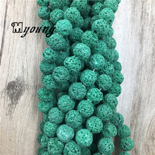 Dark Green Natural Lava Beads,Round Matt Nature Stone beads, Vesuvianite Beads For DIY Jewelry 5 Strands/lot MY1640