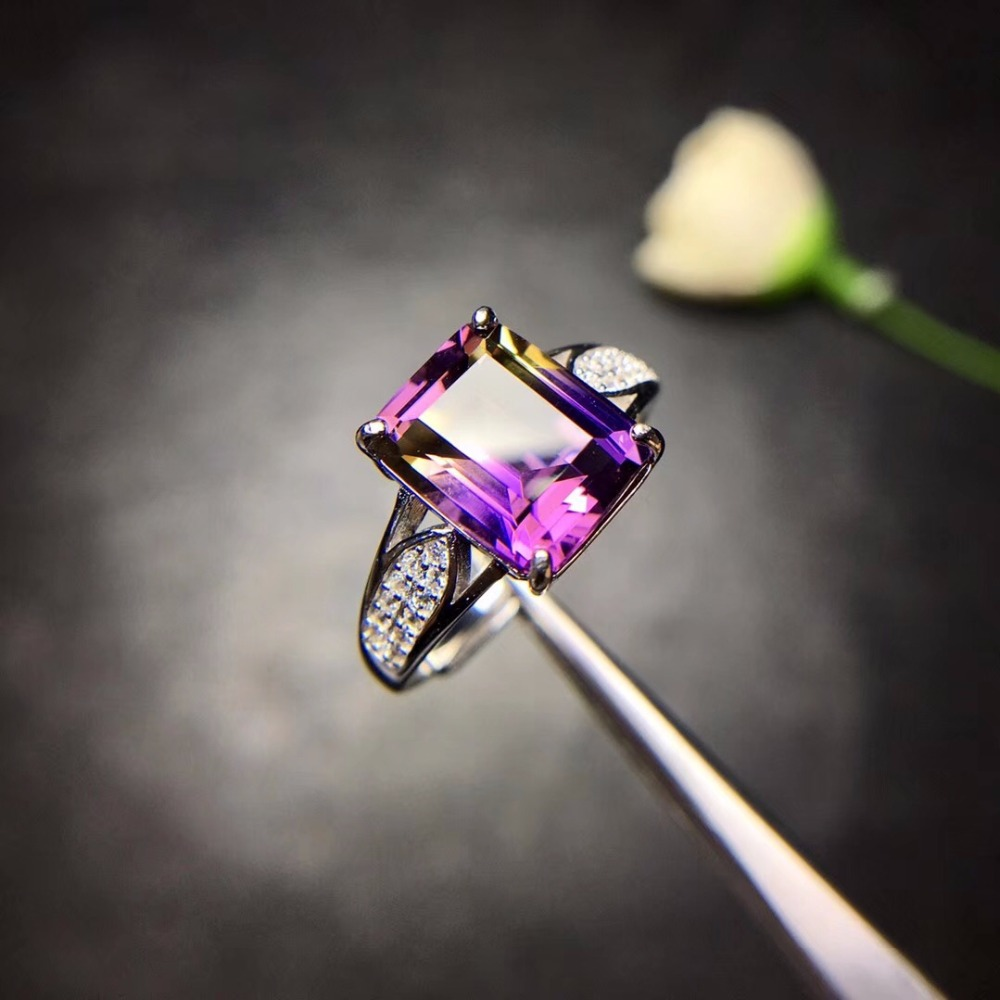 Natural Amethyst Rectangle Rings for Women 925 Sterling Silver Fine Jewelry 8 10mm Gemstone with Velvet