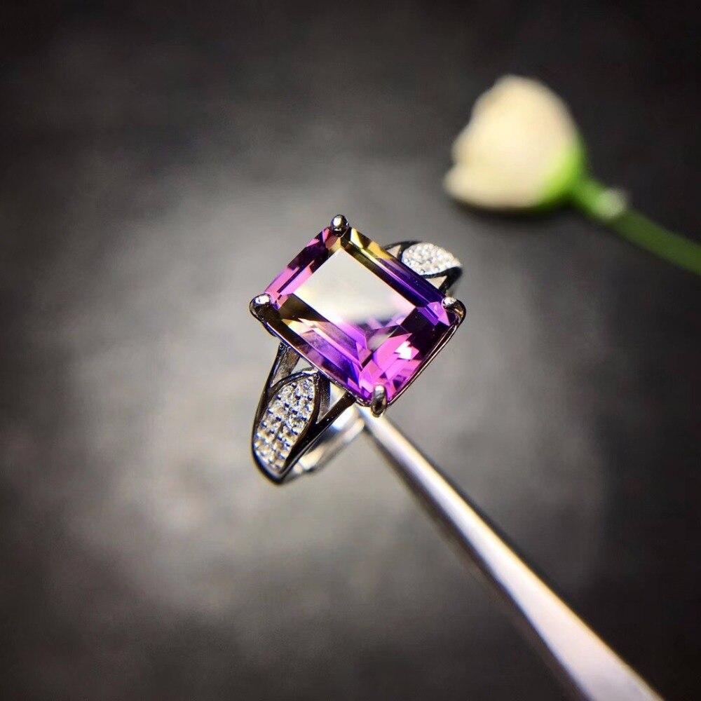 Takı ve Aksesuarları'ten Halkalar'de Doğal Ametist Dikdörtgen Yüzük Kadınlar için, 925 Ayar Gümüş Güzel Takı, 8*10mm Taş kadife kutu Sertifikası FJ244'da  Grup 1