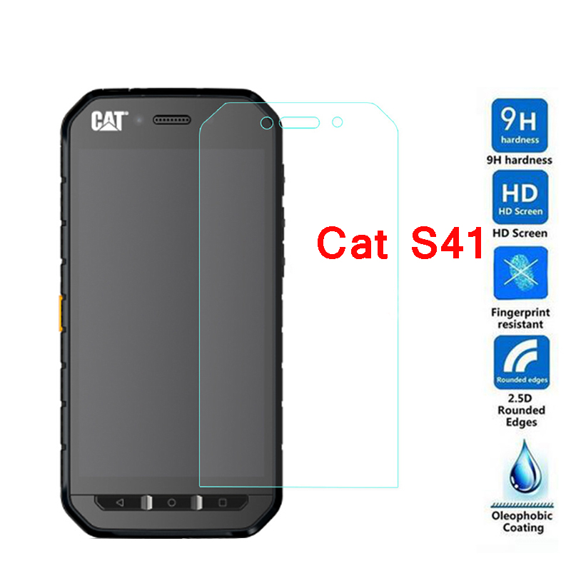 High Quality 0.3mm 9H Hard Tempered Glass For Caterpillar Cat S41 Screen Protector Protective Film Front Safety Guard Films><