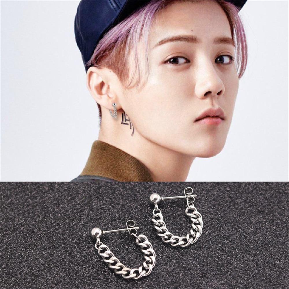 c11a39c6cc912 PUN bts crosses drop earrings 2018 men fashion korean hanging male brincos  pendants accessories silver black gold earring women
