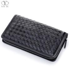 YINTE Men's Clutch Wallet Woven Purse Genuine Leather England Style Black Clutch Passport Wallet Wrist Bags Portfolio T6089-4