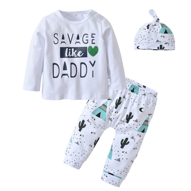 4305c25bfbd2b Infant Toddler Clothing Baby Boy Clothes Letter Savage Like Daddy Long  Sleeve T-shirt+Pants+Hat Cute 3Pcs Newborn Outfits Set