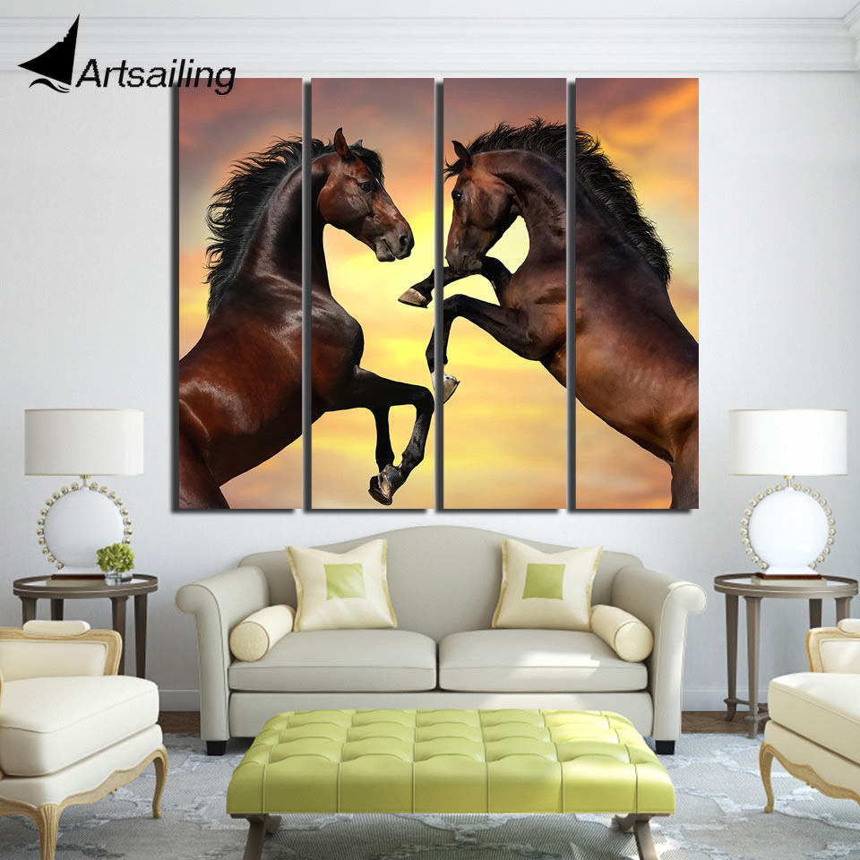4 Piece Horse Canvas Wall Pictures For Living Room Poster