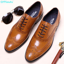 QYFCIOUFU 2019 Luxury Oxfords Men Fashion Dress Shoes Classic Formal Business Vintage Genuine Leather Brogue