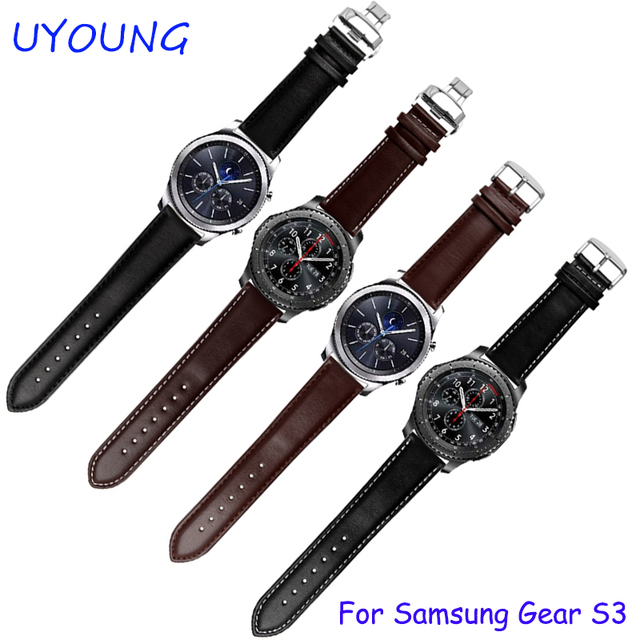For Samsung Gear S3 Classic/Forntier Watchbands 22mm Genuine Leather Strap Black Brown Bracelet Fit Samsung Smart Watch band