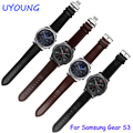 Para samsung gear clássico s3/forntier pulseiras 22mm pulseira de couro genuíno marrom preto pulseira fit samsung smart watch band