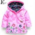 2017 niños clothing deporte abrigos con capucha de los muchachos abrigos chaqueta para las niñas bebé ropa de abrigo ropa de la muchacha niños impermeable impermeable capa