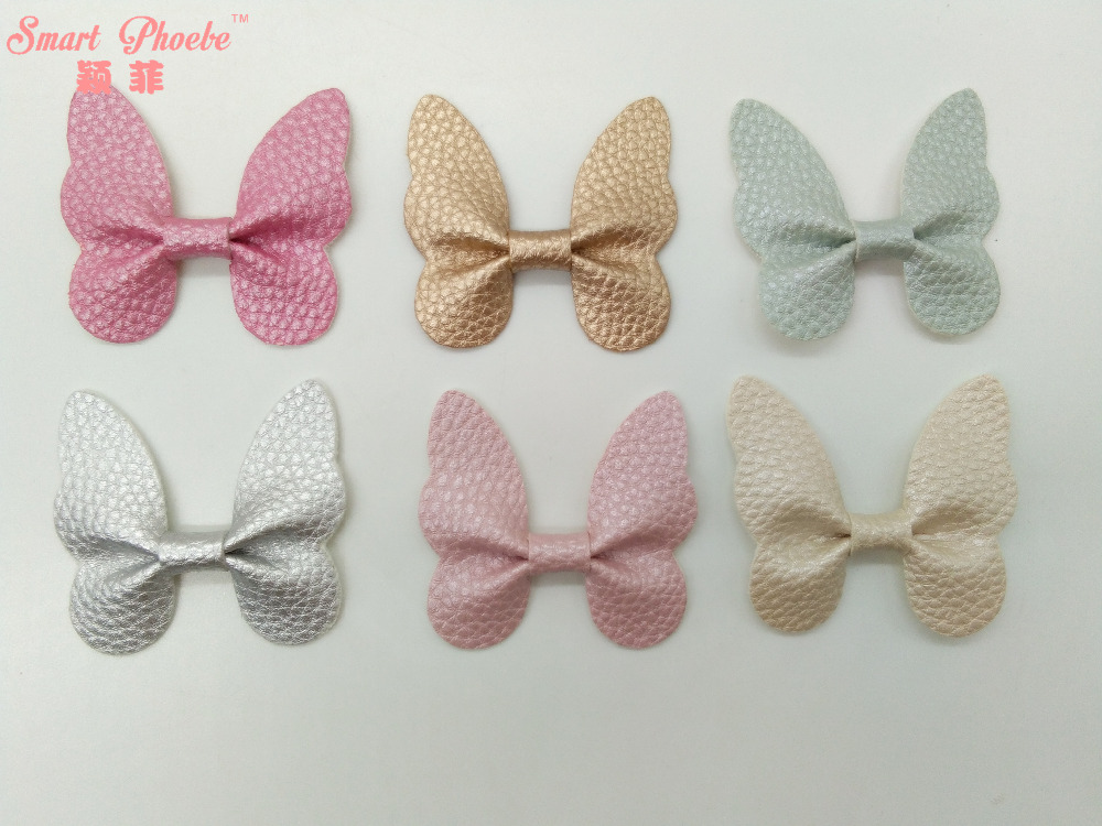 50pcs 6C Fashion Cute Leather Butterfly DIY Materials Solid Kawaii PU Hair Bow DIY Accessories for