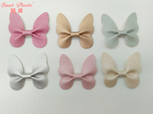 50pcs/6C Fashion Cute Leather Butterfly DIY Materials Solid Kawaii PU Hair Bow DIY Accessories for Hairpins Headware Accessories