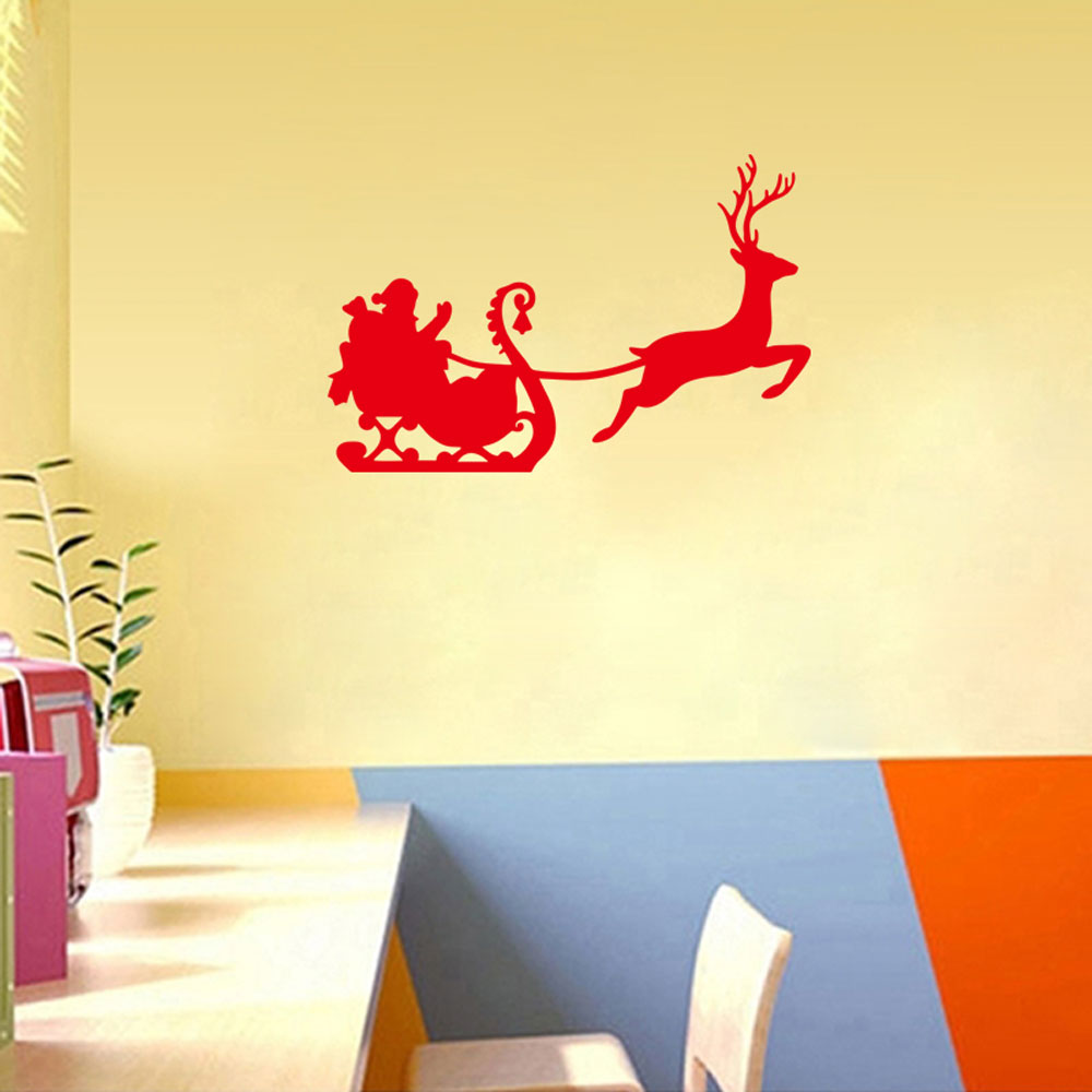 Free shipping DIY Santa carriage deer Art wallpaper mural decals ...