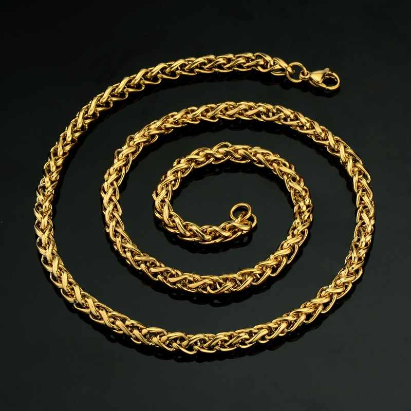"Mens Gold Chain Necklace For Men/Women Jewelry 20"" 23"" 26"" Gold Color Stainless Steel Rope Chain Necklaces Male Collier"