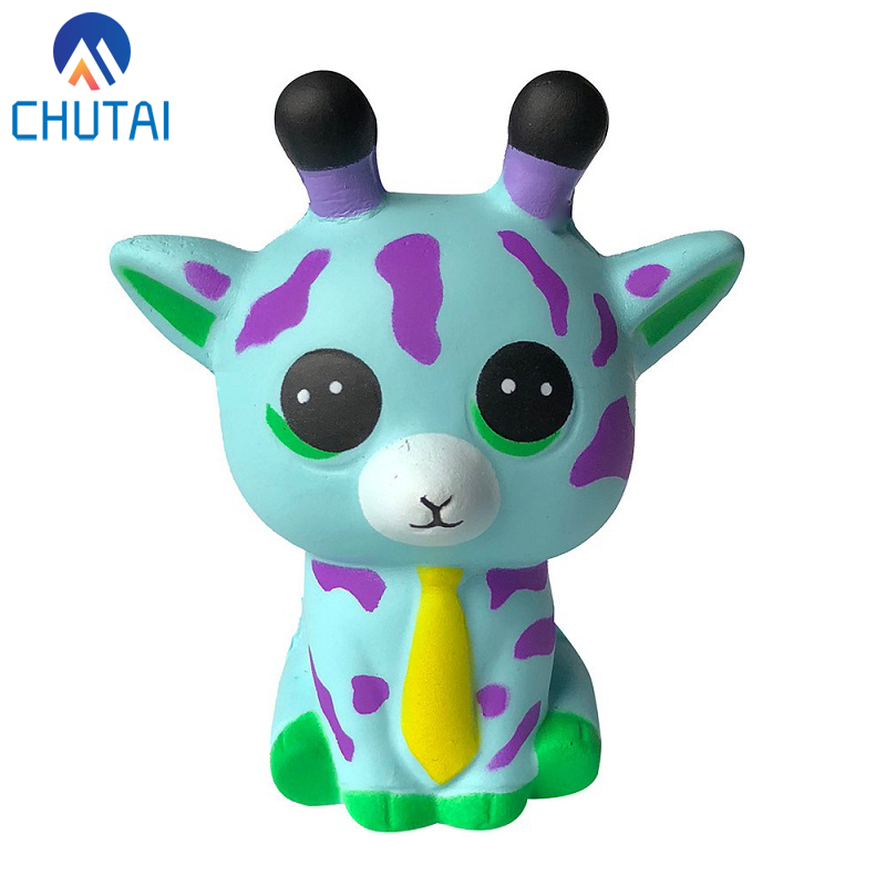 2019 New Arrival Kawaii Jumbo Squishi Cartoon Animal Tie Sika Deer Squishy Slow Rising PU Stress Relief Squeeze Toys 9.5*8*5 CM
