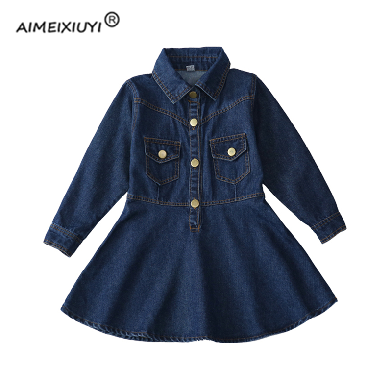Girls Denim Dress 2017 Autumn Fashion Turn-down Collar Long Sleeve MINI Pleated Dresses Vestido For Kids Jeans Clothes