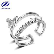 Женское кольцо с двумя бабочками открытое ювелирное изделие