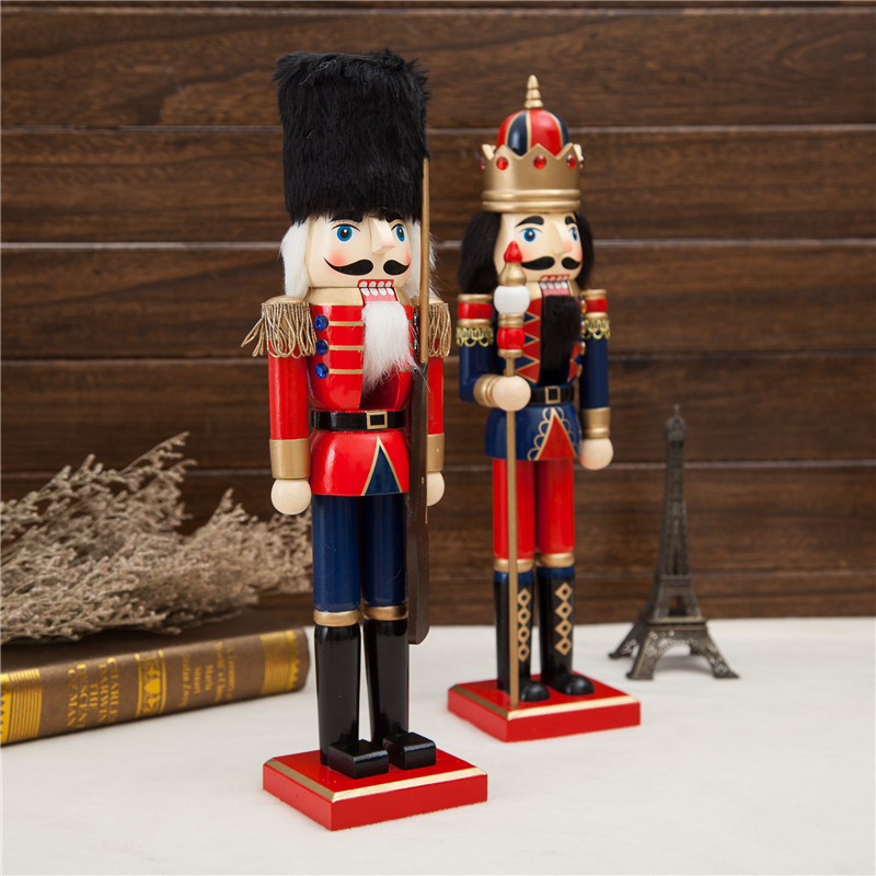 2pcs 38cm beautiful Original wood Nutcrackers Soilders Vintage home decoration accessories Christmas gift nutcrackers crafts in Figurines Miniatures from Home Garden