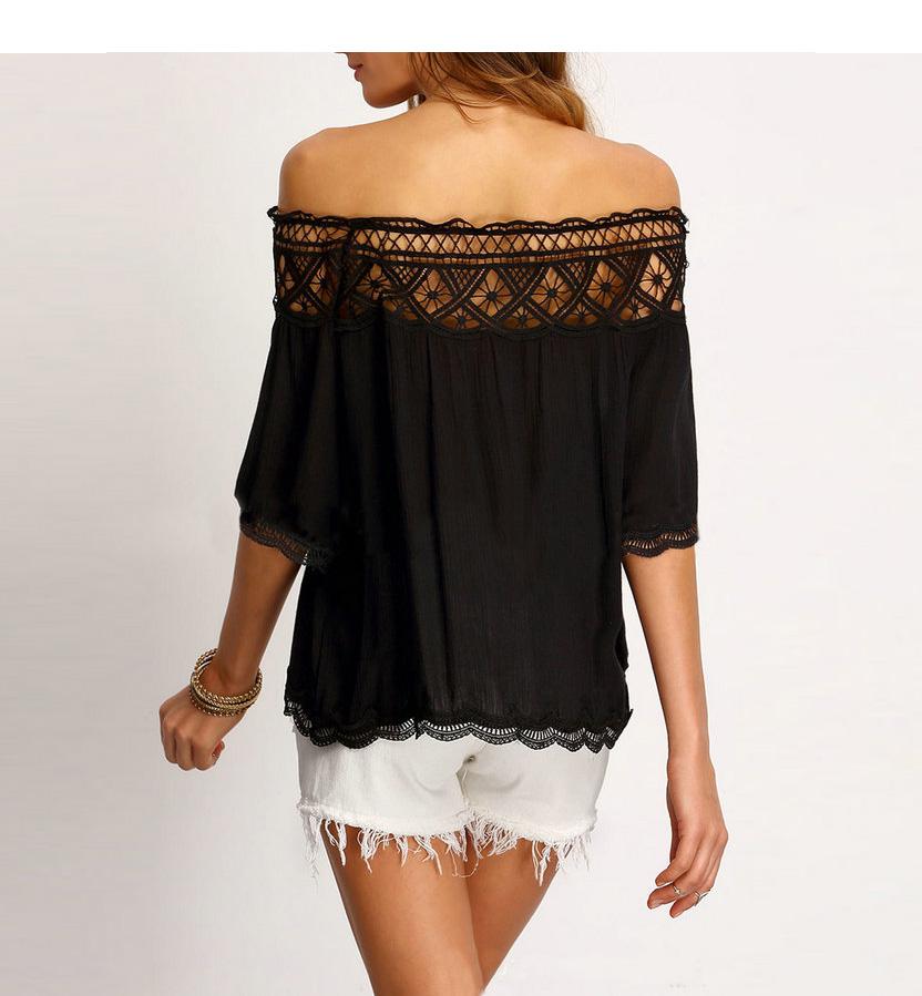 Off Shoulder Sexy Women Blouses White Lace Patchwork 2017 Summer New Arrival Slash Neck Ladies Chiffon Shirts Plus Size Tops 2XL 20