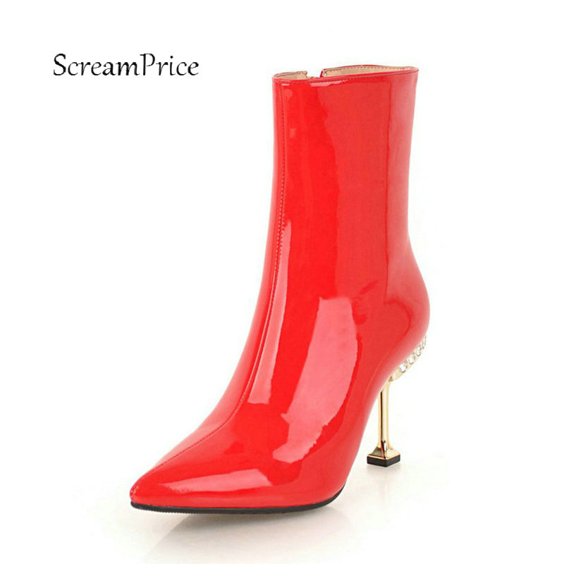 Female Sexy Soft Patent Leather Thin High Heel Ankle Boots Fashion Crystal Side Zipper Pointed Toe Women Warm Winter Shoes Red 2016 free shipping spring new sexy open side super high thin heel leopard print patent leather pointed toe single shoes 1057 2