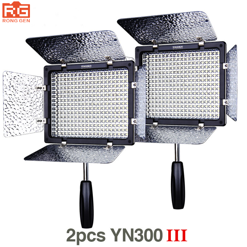 2pcs Yongnuo YN300 III YN 300 III 3200k 5500K CRI95+ Pro LED Video Lights Support AC Adapter & Remote Control APP Control