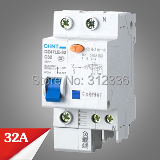 Free Shipping Two years Warranty DZ47LE-32 C32 1P+N 32A 1 pole ELCB RCD earth leakage circuit breaker residual current dz47 63 dz47le 32a 400vac 6000a 3 pole mini elcb earth leakage circuit breaker