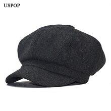 USPOP,, модная женская шерстяная шапка, Ретро стиль, шерсть, восьмиугольная шапка, берет, восьмиугольная шапка, женские толстые теплые зимние шапки, шапки газетчика