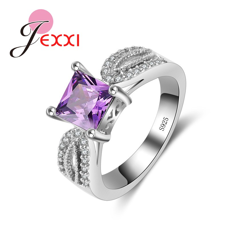 Elegant Luxury Charm Austrian CZ Crystal 925 Sterling Silver Wedding Rings For Women Engagement Bridal Rings Jewelry
