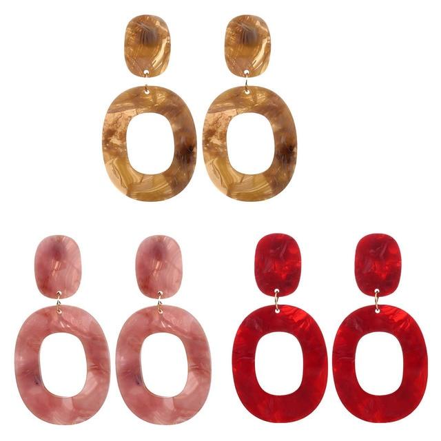 2018 New Acetic Acid Clear Acrylic Earrings Dangle Oval Earrings for Women Vinta