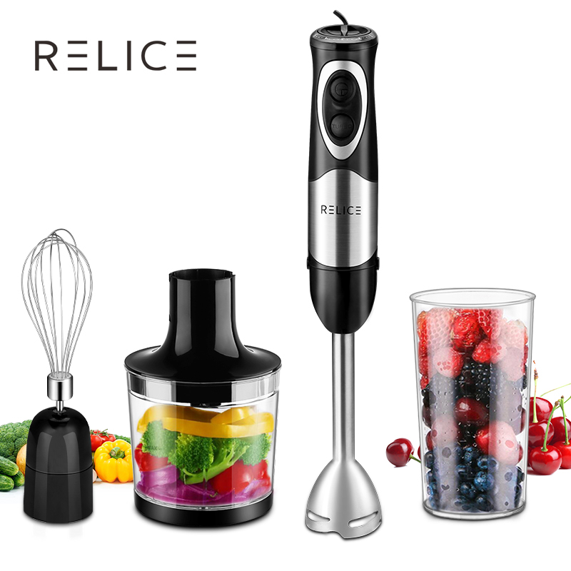 RELICE Powerful Electric Handheld Mixer 500W Multi-functional Hand Blender With Chopper,Whisker and Cup Food Mixer For Kitchen