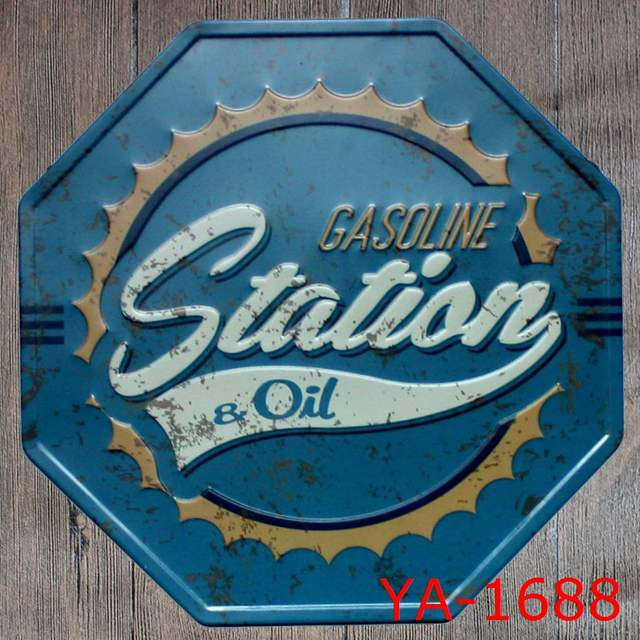 US $9 69 35% OFF|Gas Oil Signs For Moto Vintage Metal Poster Garage  Gasoline Station Tin Sign irregular Home Decor 30x30 cm-in Plaques & Signs  from