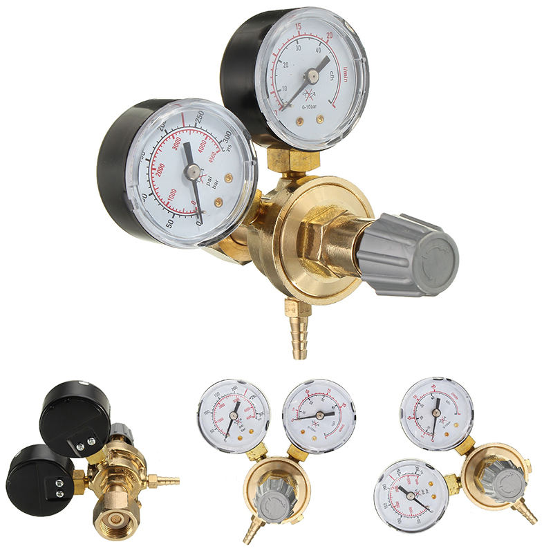 Professional Argon CO2 Pressure Reducer Copper Mig Flow Control Valve Dual Gauge Welding Regulator