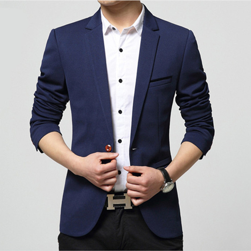 2017 Spring Autumn Male Blazer Solid Casual Slim Men's ...