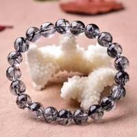 Brazil Natural Crystal Black Hair Bracelet Men And Women Lovers Black Titanium Crystal Hair Crystal10MM
