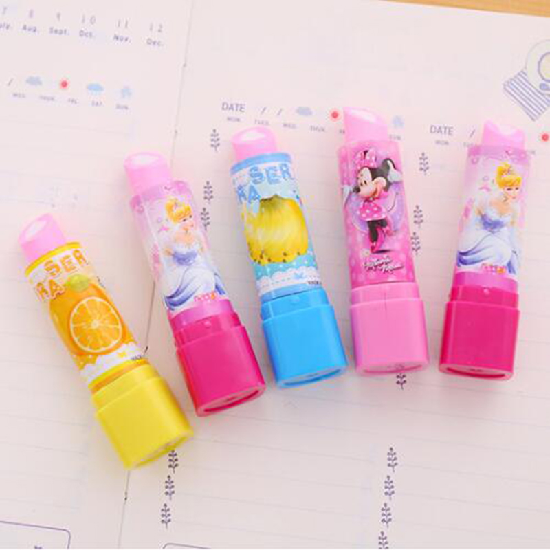 2pc/lot Cute Fruit Lipstick Style Rubber Erasers For Girls Novelty Pencil Eraser Kids Gift Kawaii Stationery School Supplies