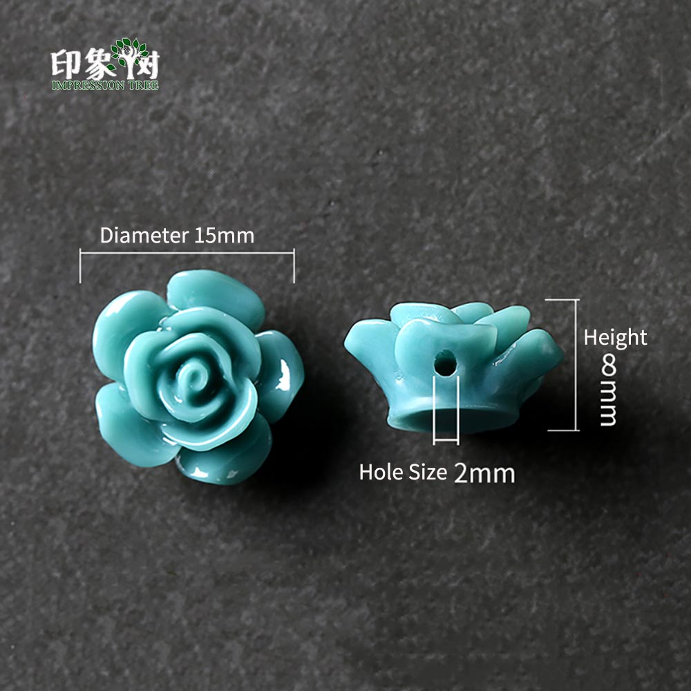 10pcs Teal Resin Rose Flower Bead Caps 15x8mm Flat Back 3d Flower Charms Fit For Necklace Bracelet Handmade Jewelry Making 26001 Home Improvement