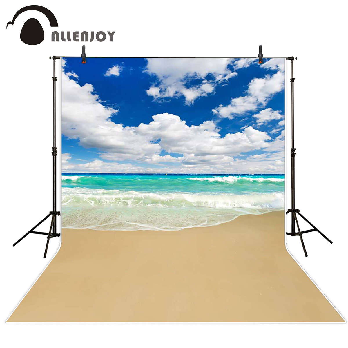 Allenjoy scenic Photo background Green seawater blue sky sand beach seaside photography backdrops for photographic studio kate backdrop for photography beach ocean wedding series background photo studio seaside scenic backdrops