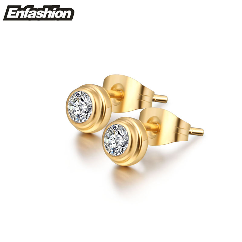 Circle crystal earring ear studs rose gold color stud earrings for