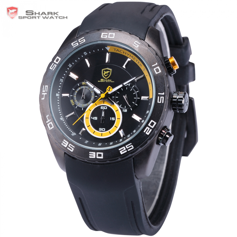 Spinner SHARK Sport Watch Waterproof Yellow 6 Hands Chronograph 24 Hours Round Black Rubber Band Mens Quartz Watch 1