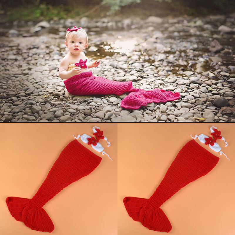 Pink Color Baby Girl Mermaid Photo Props Knitted Mermaid Tail with Bra and Headband Set Infant Cartoon Costume MZS-16055