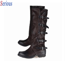 Vintage Leather Knee High Boots For Women Top Quality Square Toe Flat Belt Buckle Fashion Boots Autumn Winter New Bota