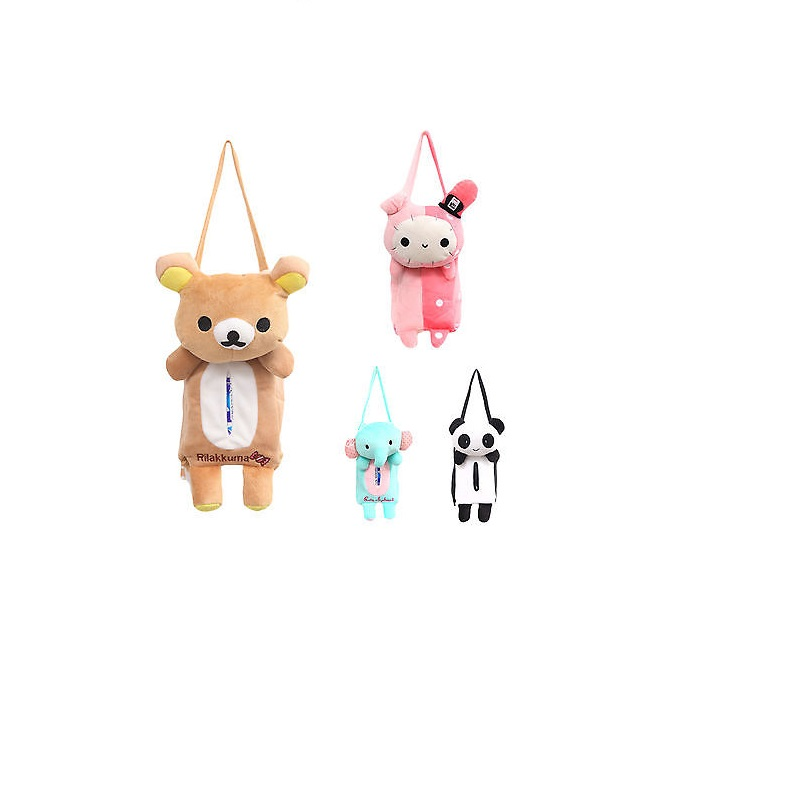 1PC Cute Soft Portable Hanging Car Tissue Box Cover Home Office Car Rectangle Animal Holder Paper Box Bathroom Storage