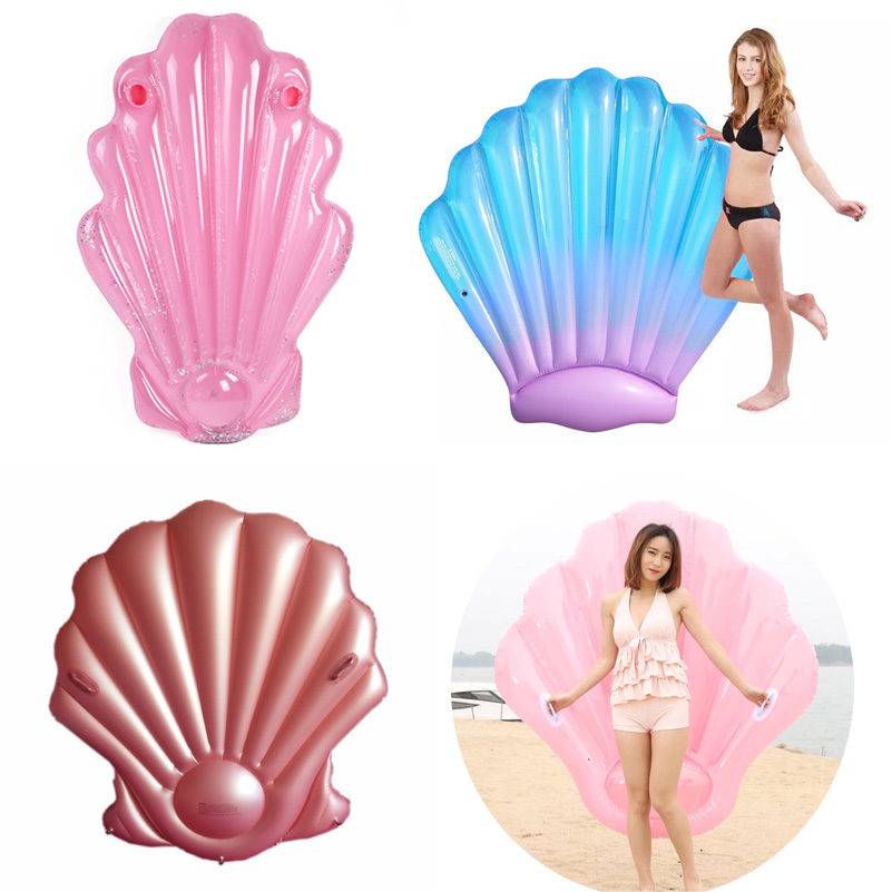 Shell Pool Float Inflatable swimming float shell Pool Float Ride On Swimming Ring Adults Water Party Toys Blue Pink Rose Red