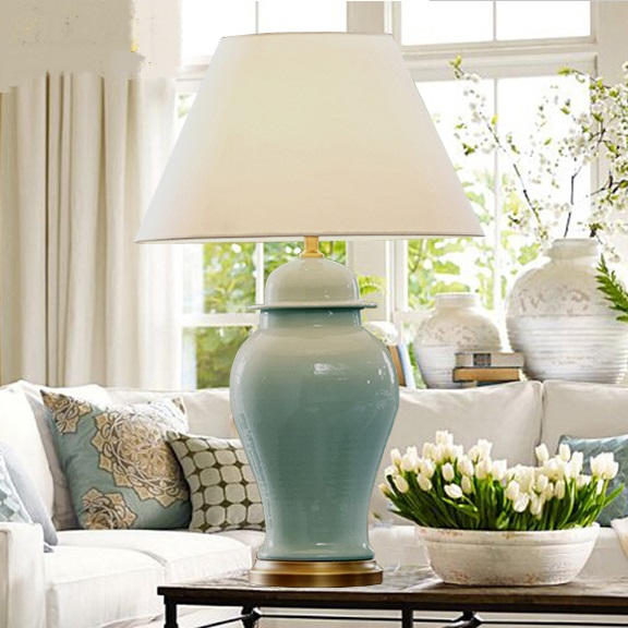 Chinese Classical Table Lamps Blue White Living Room Model - Lampe De Salon Kostka